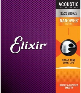 Elixir Acoustic 80/20 Bronze with NANOWEB Coating